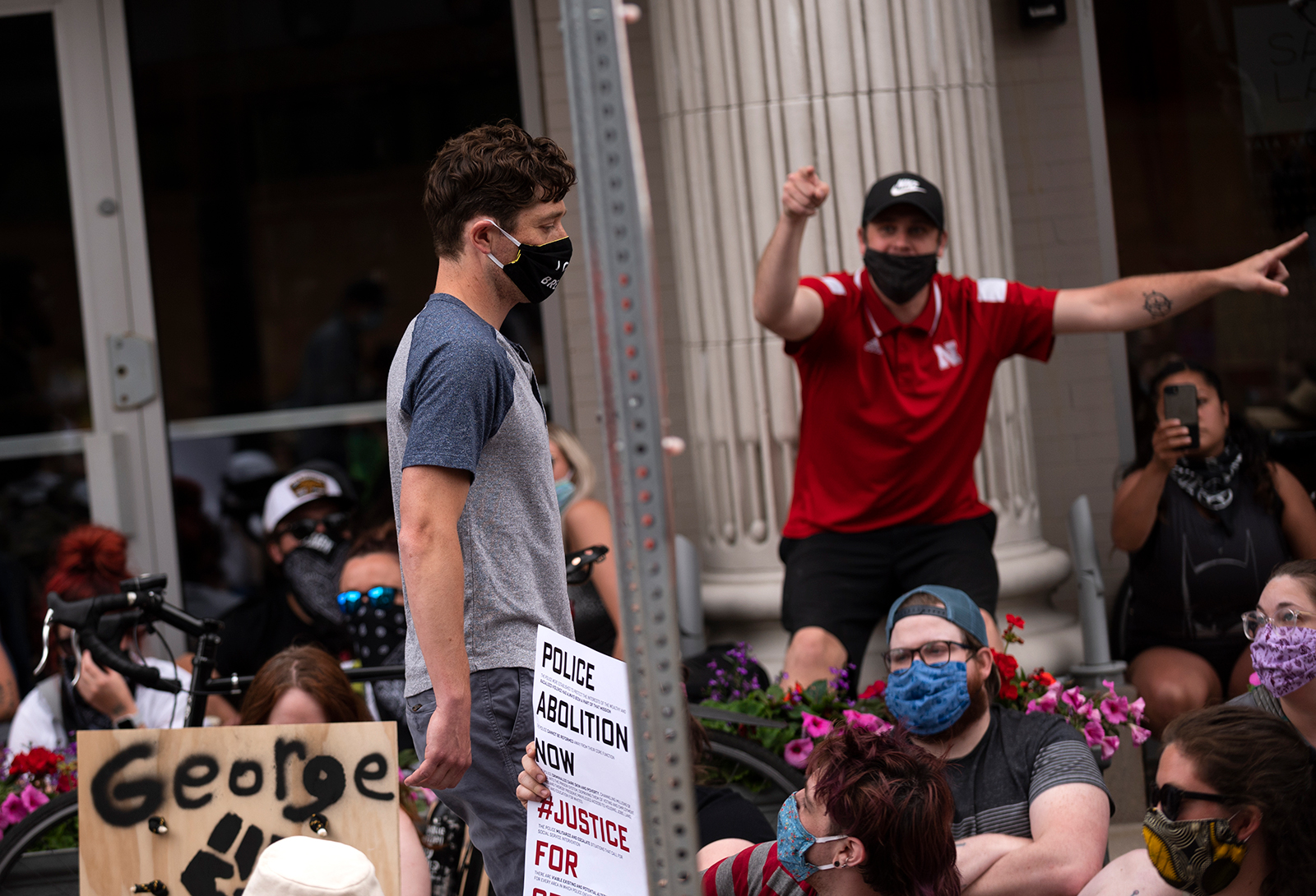 Minneapolis Mayor Jacob Frey leaves a demonstration calling for the Minneapolis Police Department to be defunded on June 6, in Minneapolis, Minnesota.