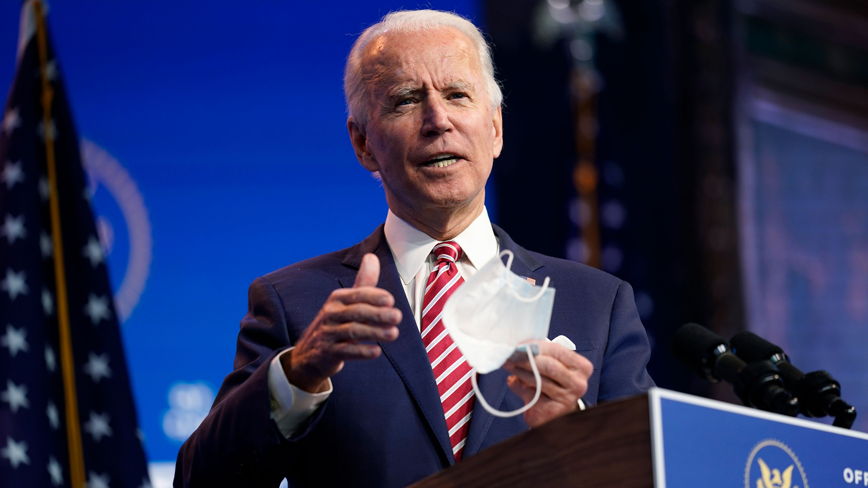 President-elect Joe Biden speaks about economic recovery on Monday, November 16 in Wilmington, Delaware.