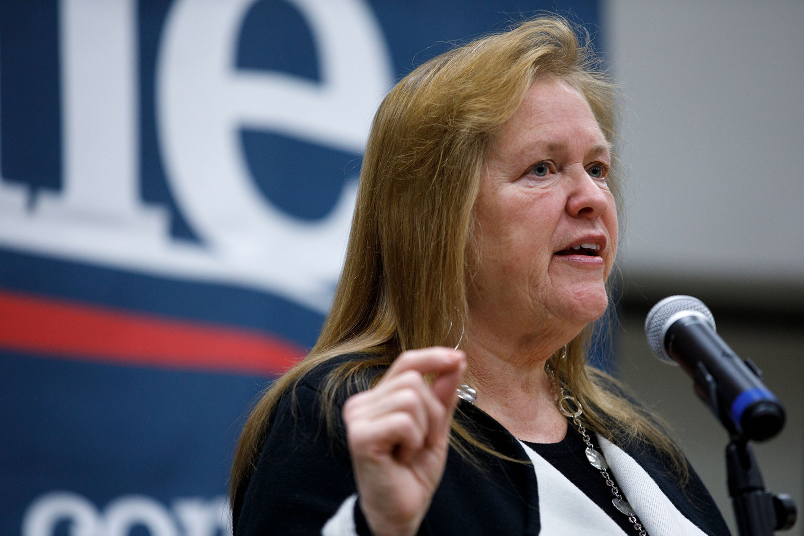 Jane Sanders speaks during a campaign event in Creston, Iowa, on January 31.
