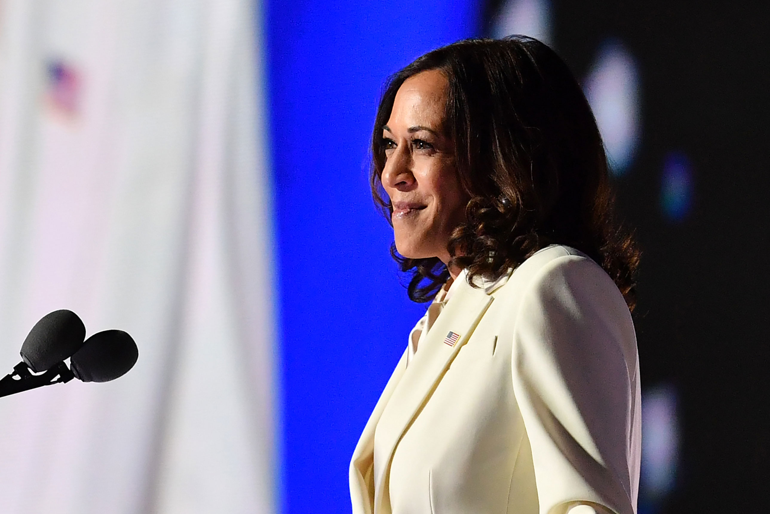 Vice President-elect Kamala Harris delivers remarks in Wilmington, Delaware, on November 7.
