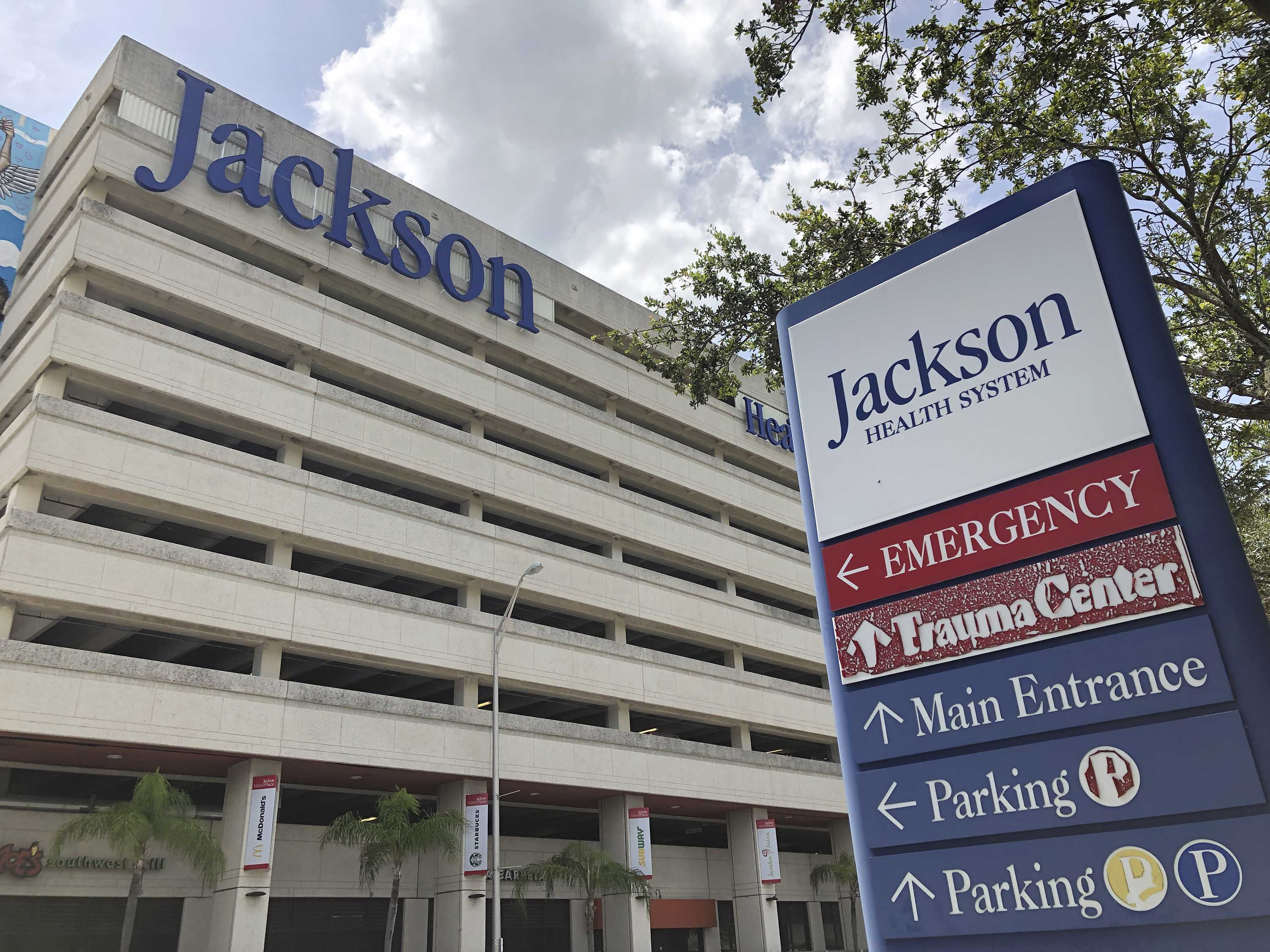 An entrance at Jackson Memorial Hospital is shown on July 9 in Miami.