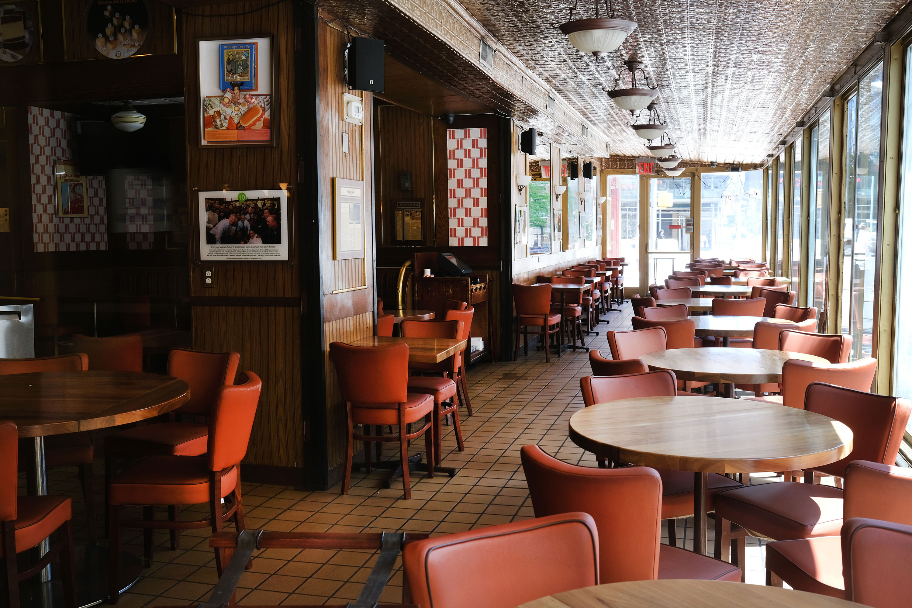 A restaurant stands empty and closed on May 12 in Brooklyn, New York.