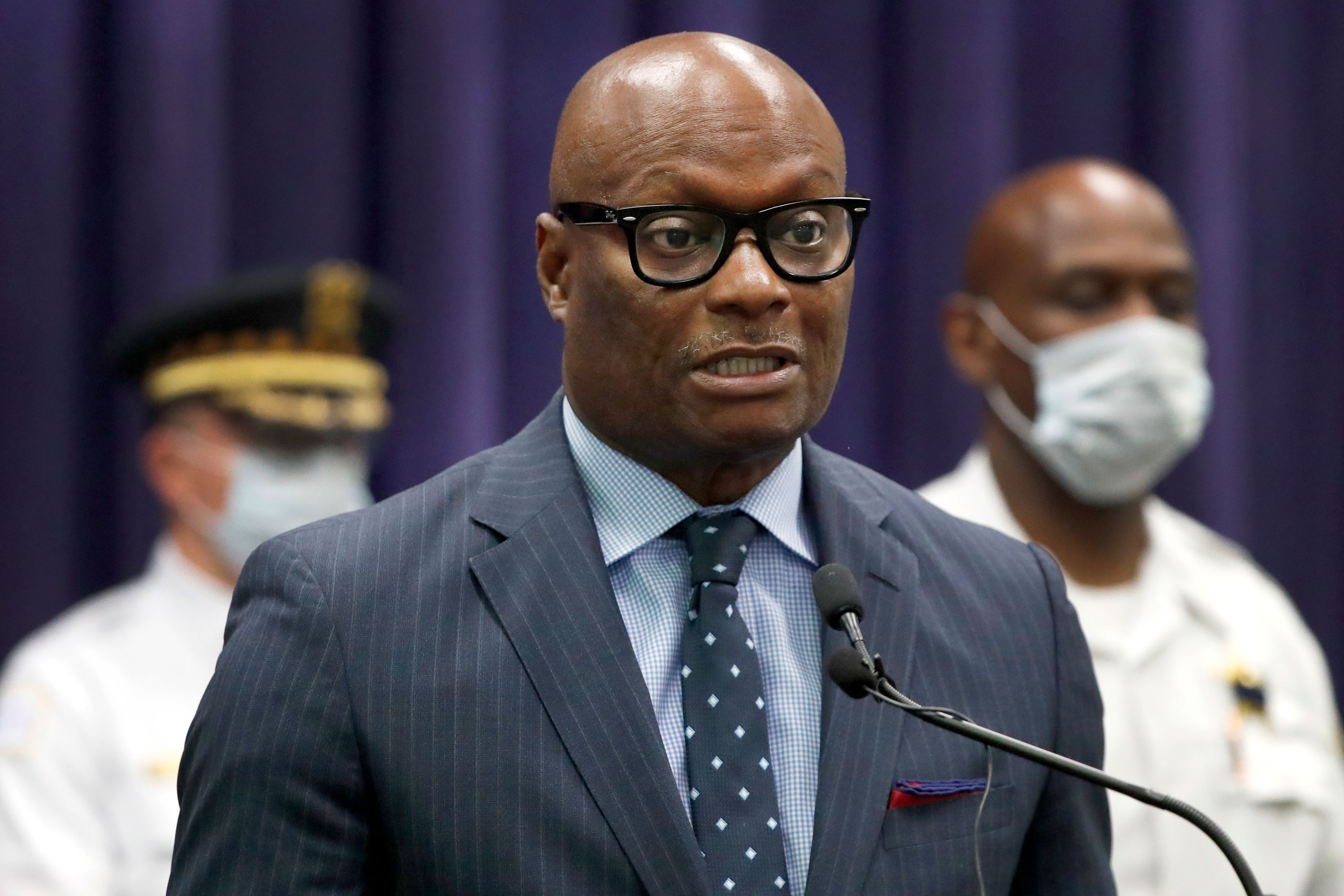 Chicago Police Superintendent David Brown speaks during a news conference on May 26 in Chicago.