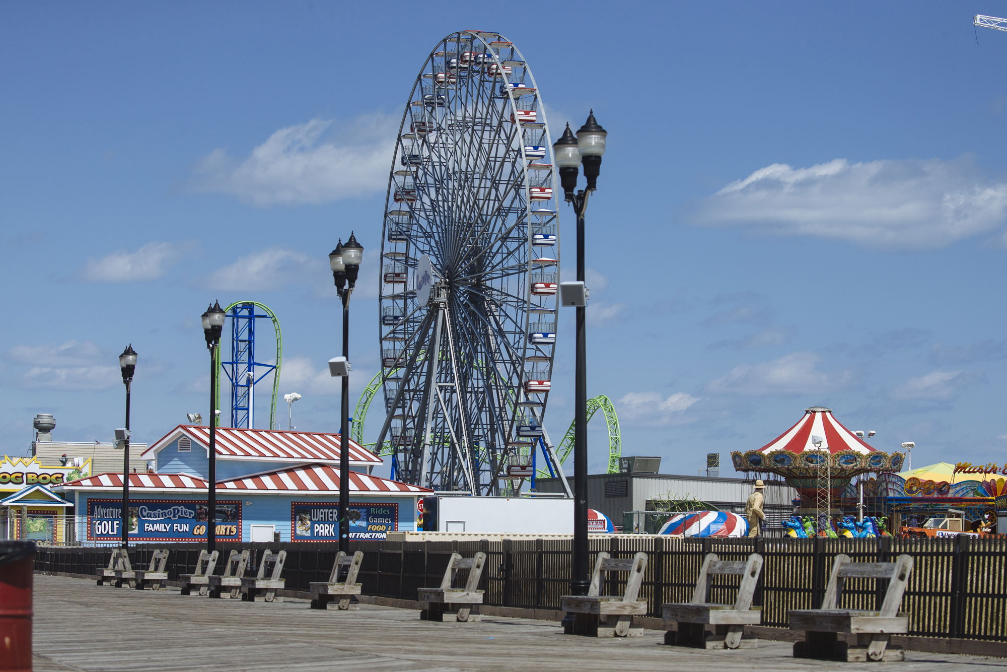 Rides sit idle at the Casino Pier amusement park in Seaside Heights, New Jersey, on April 22.