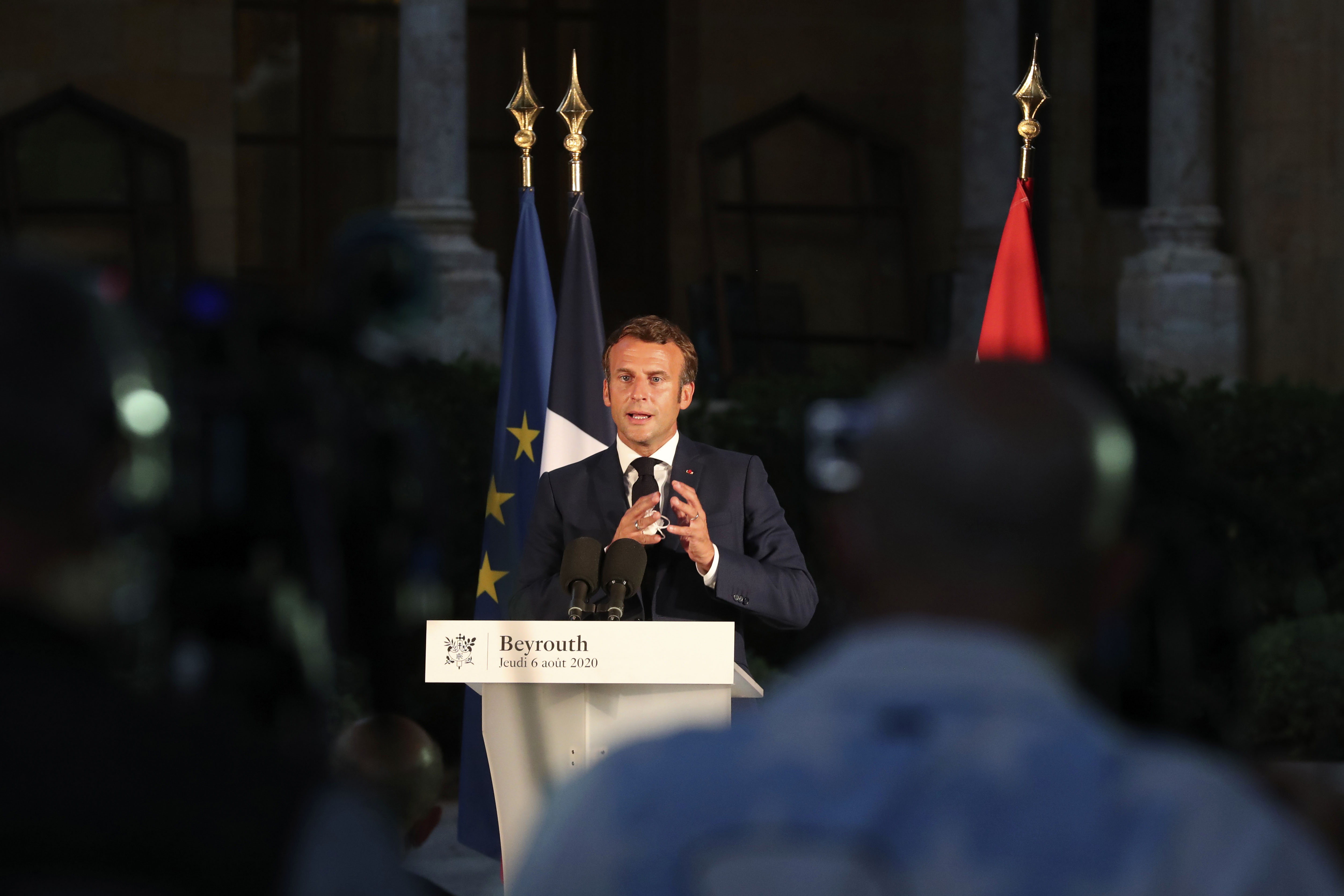 French President Emmanuel Macron speaks at a press conference in Beirut, Lebanon, on August 6.