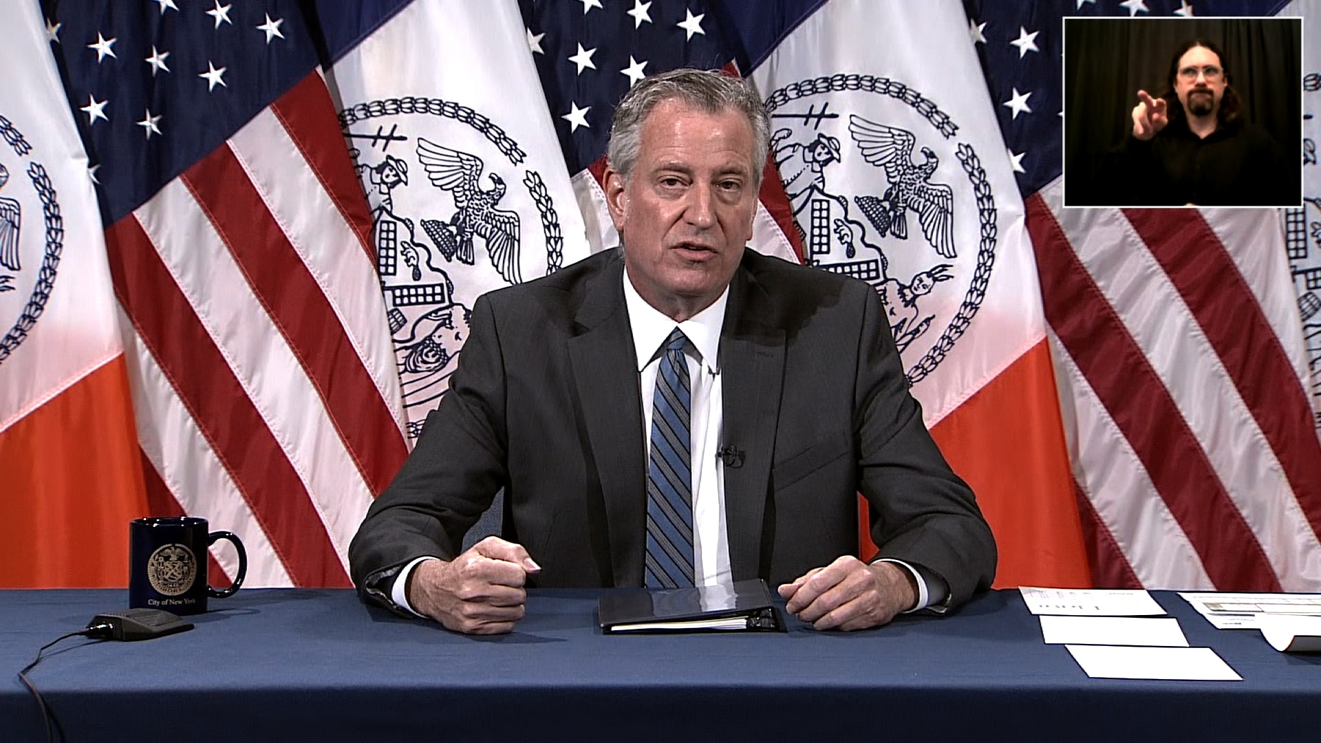 New York City Mayor Bill de Blasio speaks during a press conference in New York on June 5.