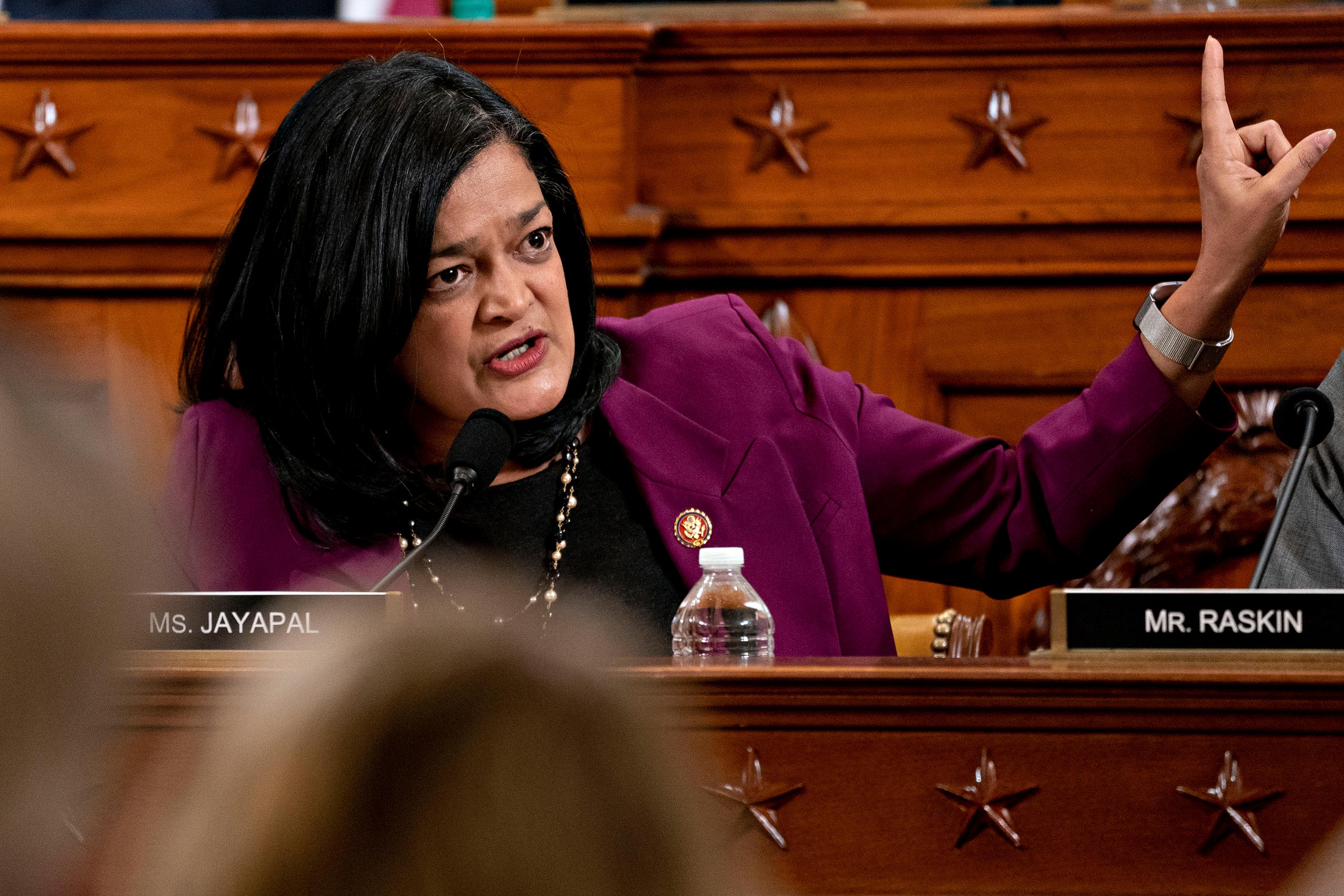 Rep. Pramila Jayapal speaks during a House Judiciary Committee markup hearing on the Articles of Impeachment against President Trump in December 2019.