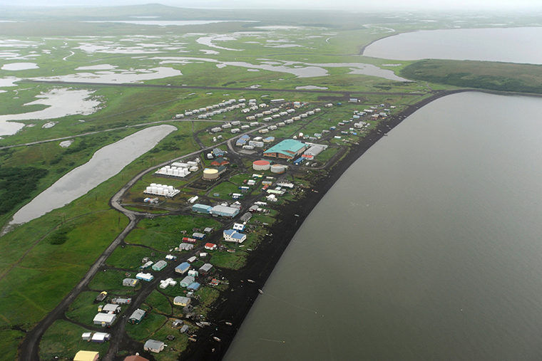 This Wednesday, June 26, 2019 photo shows an aerial view of the Yup'ik village of Stebbins on the Norton Sound coast in Western Alaska.