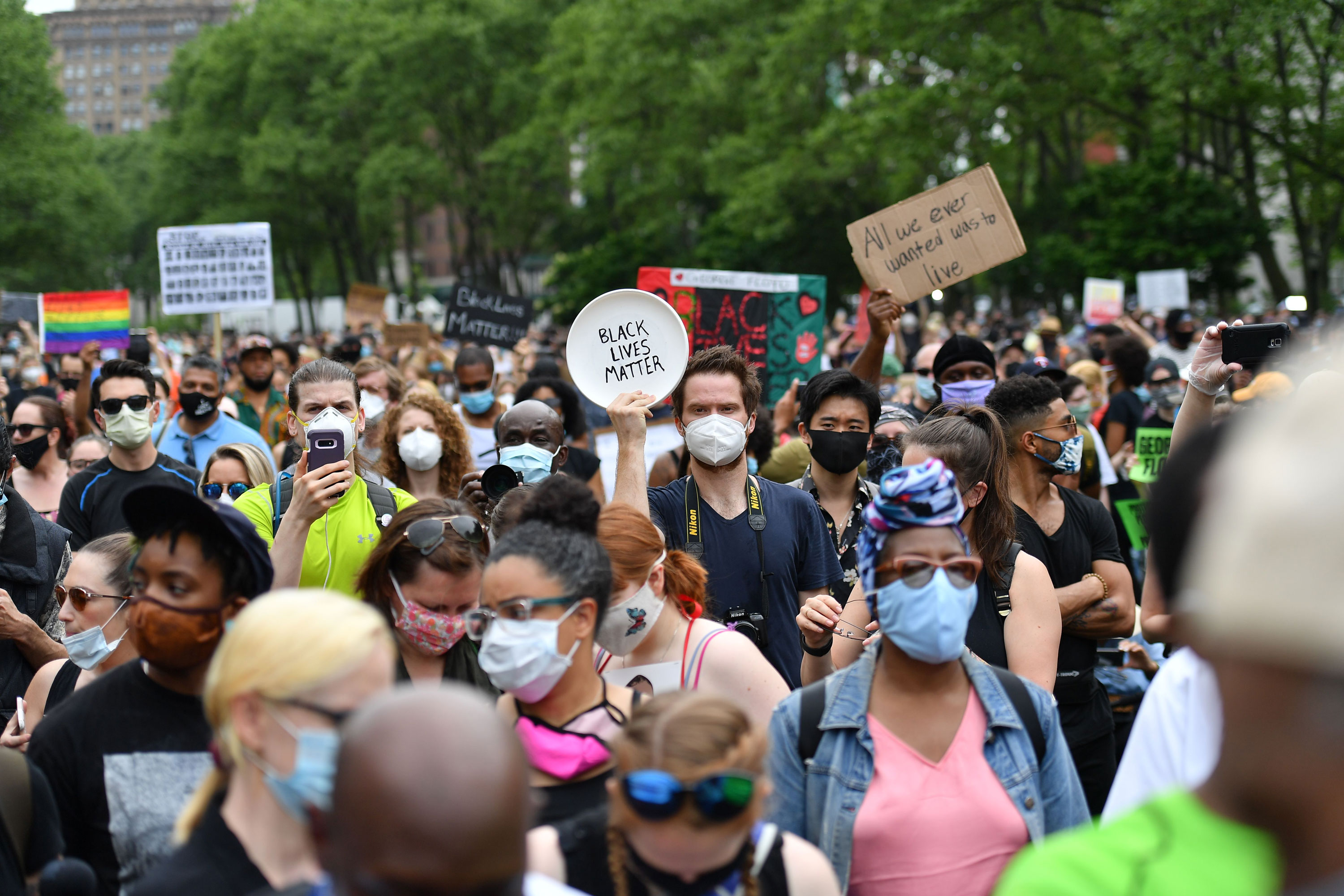 Protesters gather on June 4 in New York.