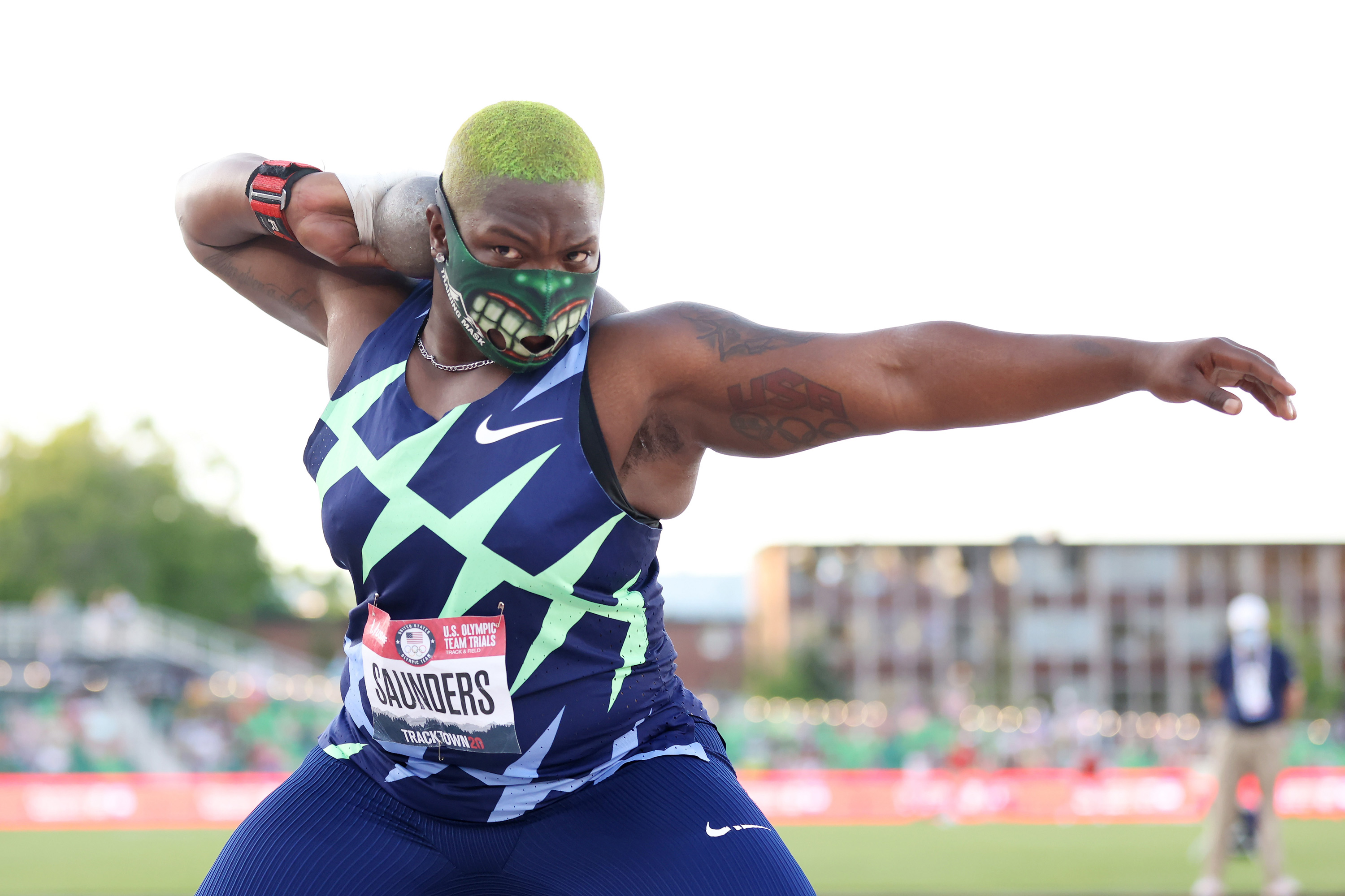 Raven Saunders competes in the 2020 US Olympic Track & Field Team Trials at Hayward Field on June 24 in Eugene, Oregon.