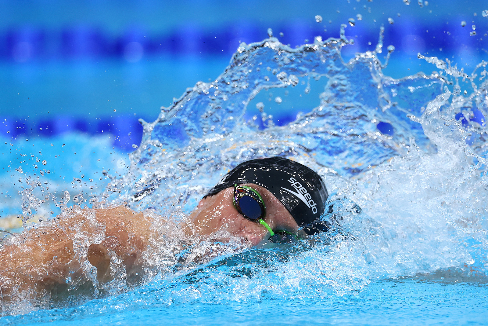 Bobby Finke of Team USA competes in the 1500 meter freestyle final on Sunday.