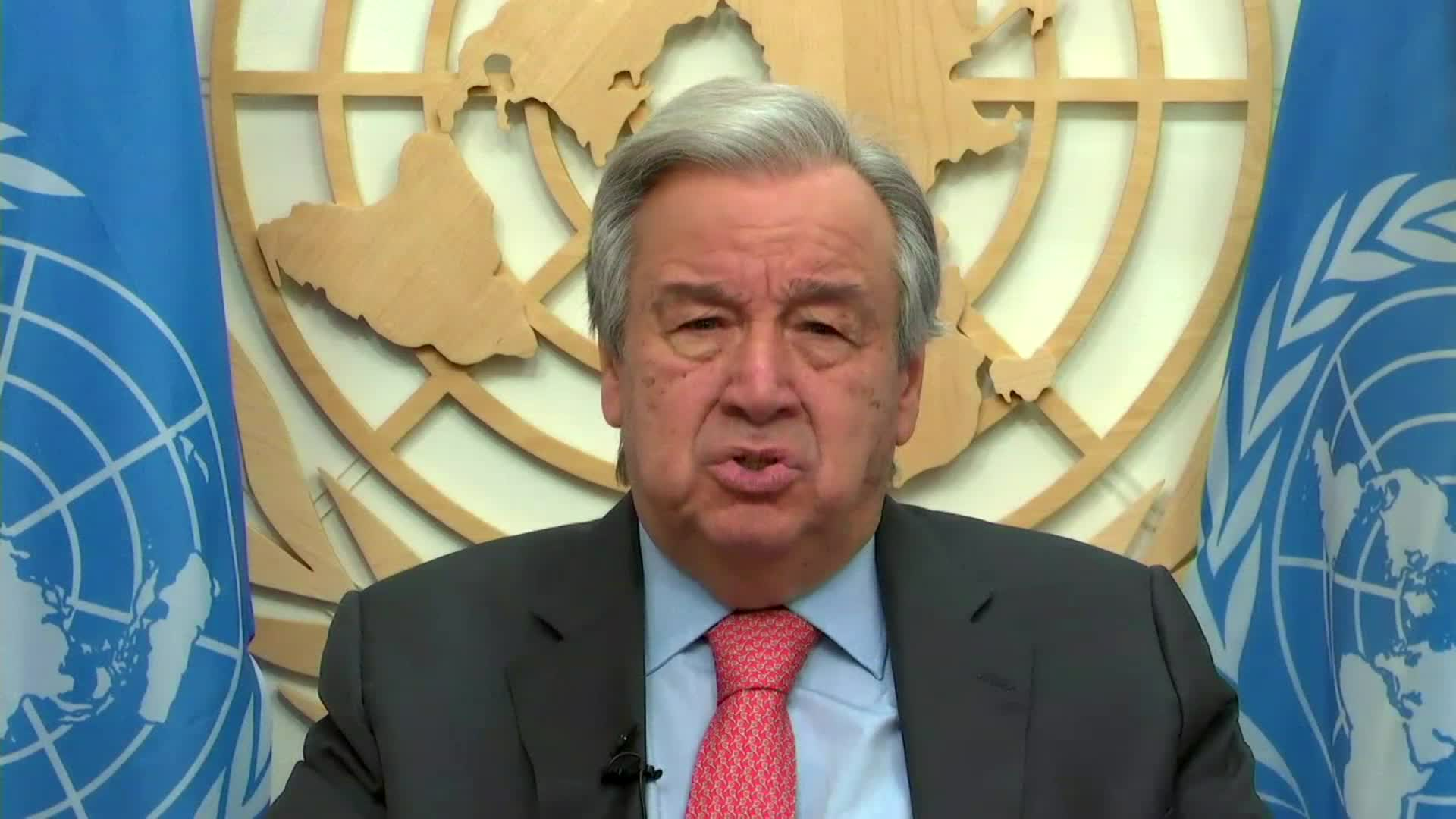 UN Secretary GeneralAntónio Guterres speaks in a video message on January 15.