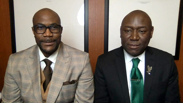 George Floyd's brother Philonise Floyd (left) with Floyd family attorney Benjamin Crump.