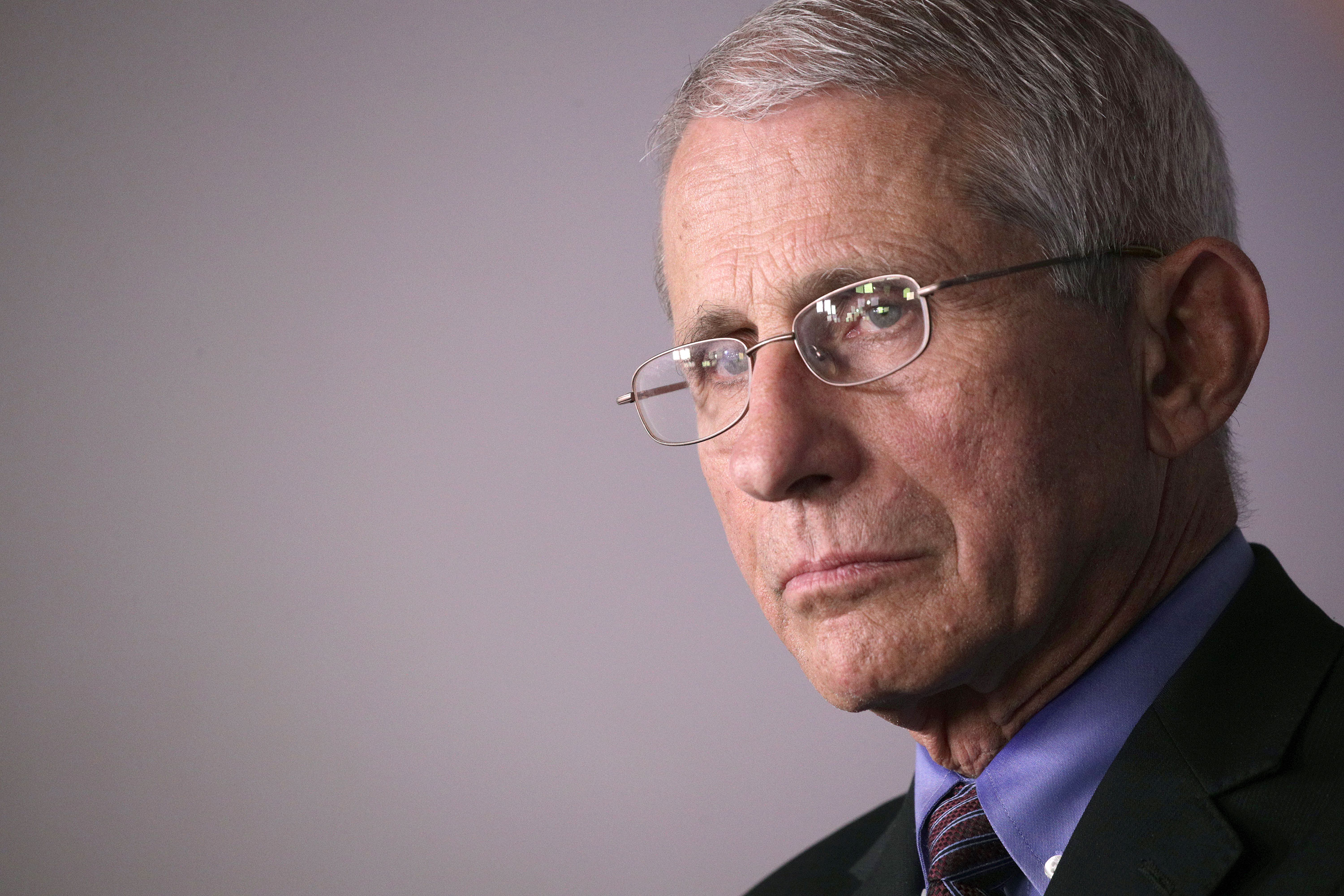 Anthony Fauci attends a coronavirus briefing at the White House on April 9.