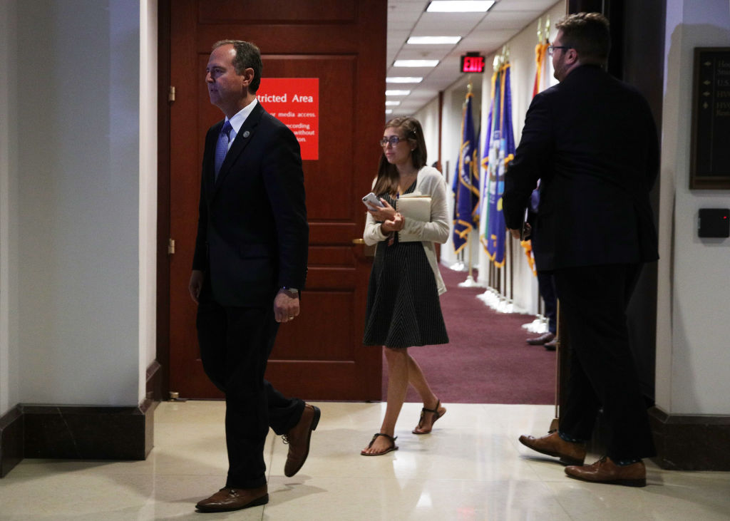 Committee Chairman Rep. Adam Schiff (D-CA) arrives to speak to members of the media after Intelligence Community Inspector General Michael Atkinson met behind closed doors with the House Intelligence Committee at the U.S. Capitol on September 19, 2019 in Washington, DC.
