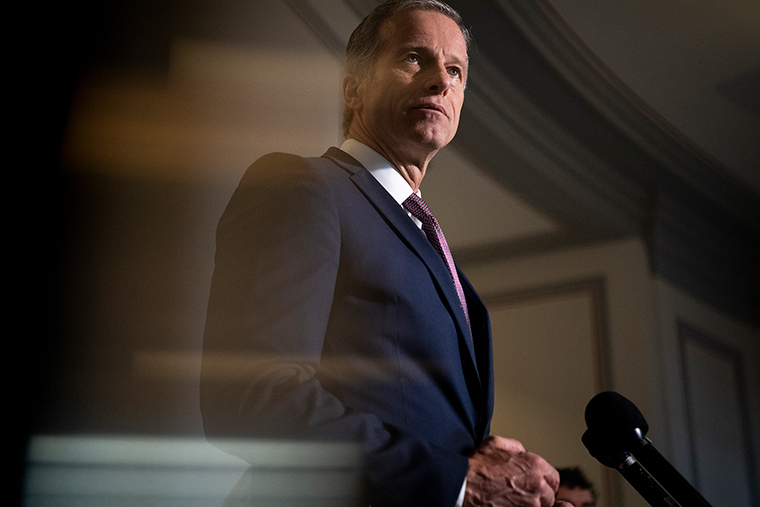 Sen. John Thune speaks during a news conference in the U.S. Capitol on Tuesday, February 23.