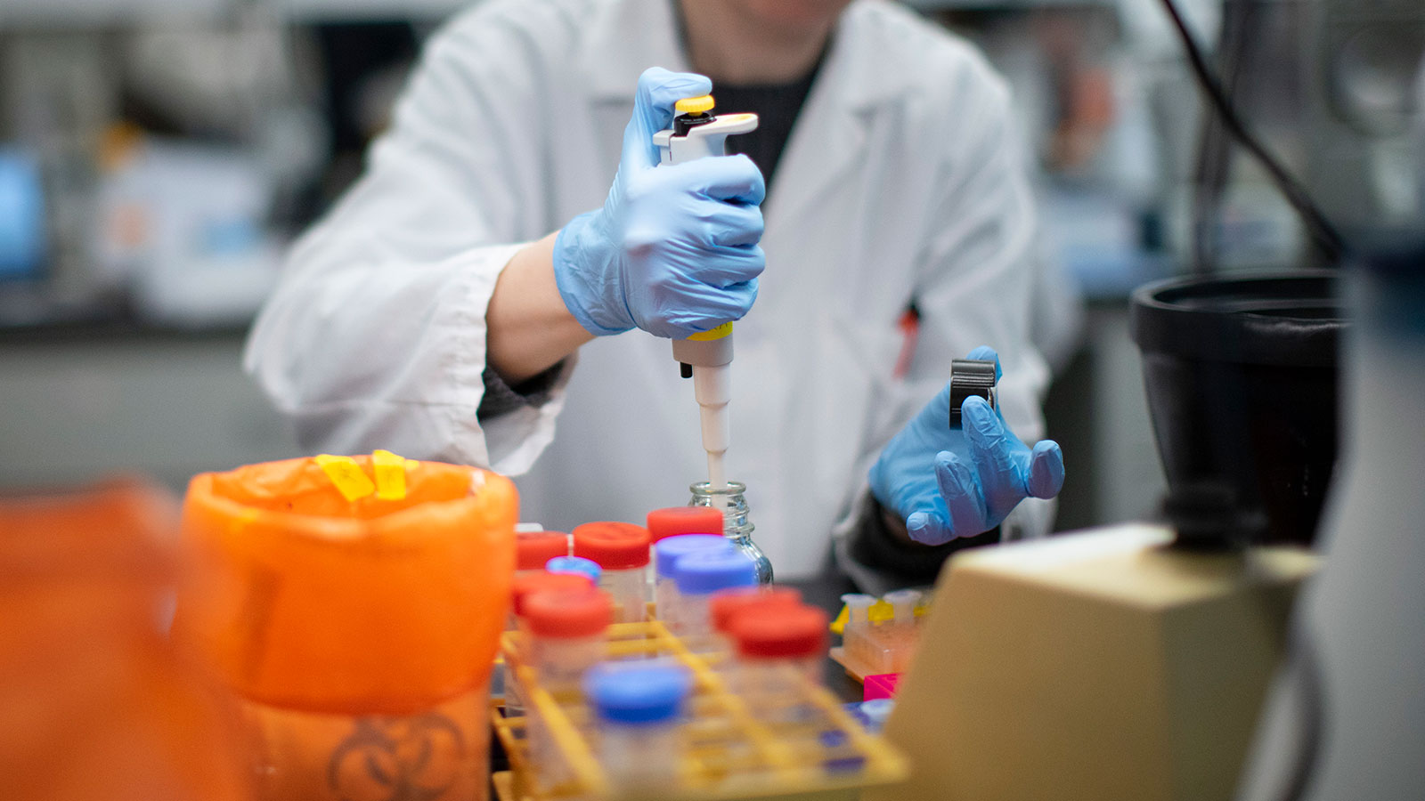 A researcher works in a lab that is developing testing for the coronavirus at Hackensack Meridian Health Center for Discovery and Innovation in Nutley, New Jersey.