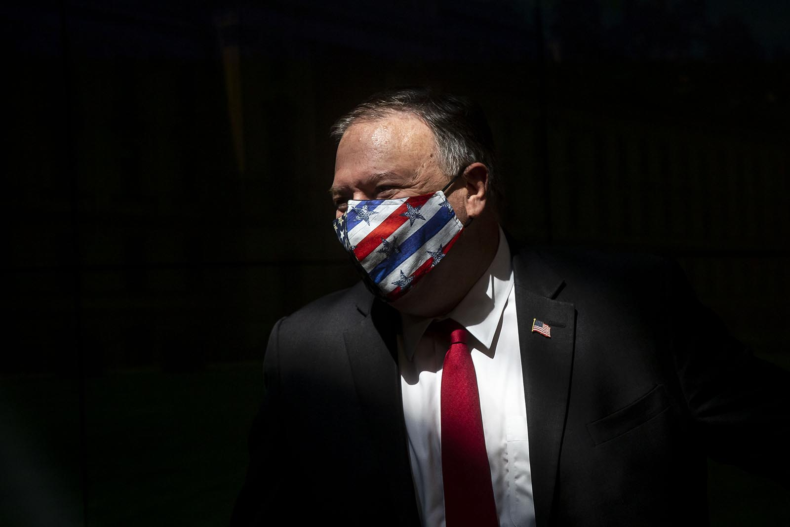 Secretary of State Mike Pompeo wears a mask at a press conference on August 12, in Prague, Czech Republic.