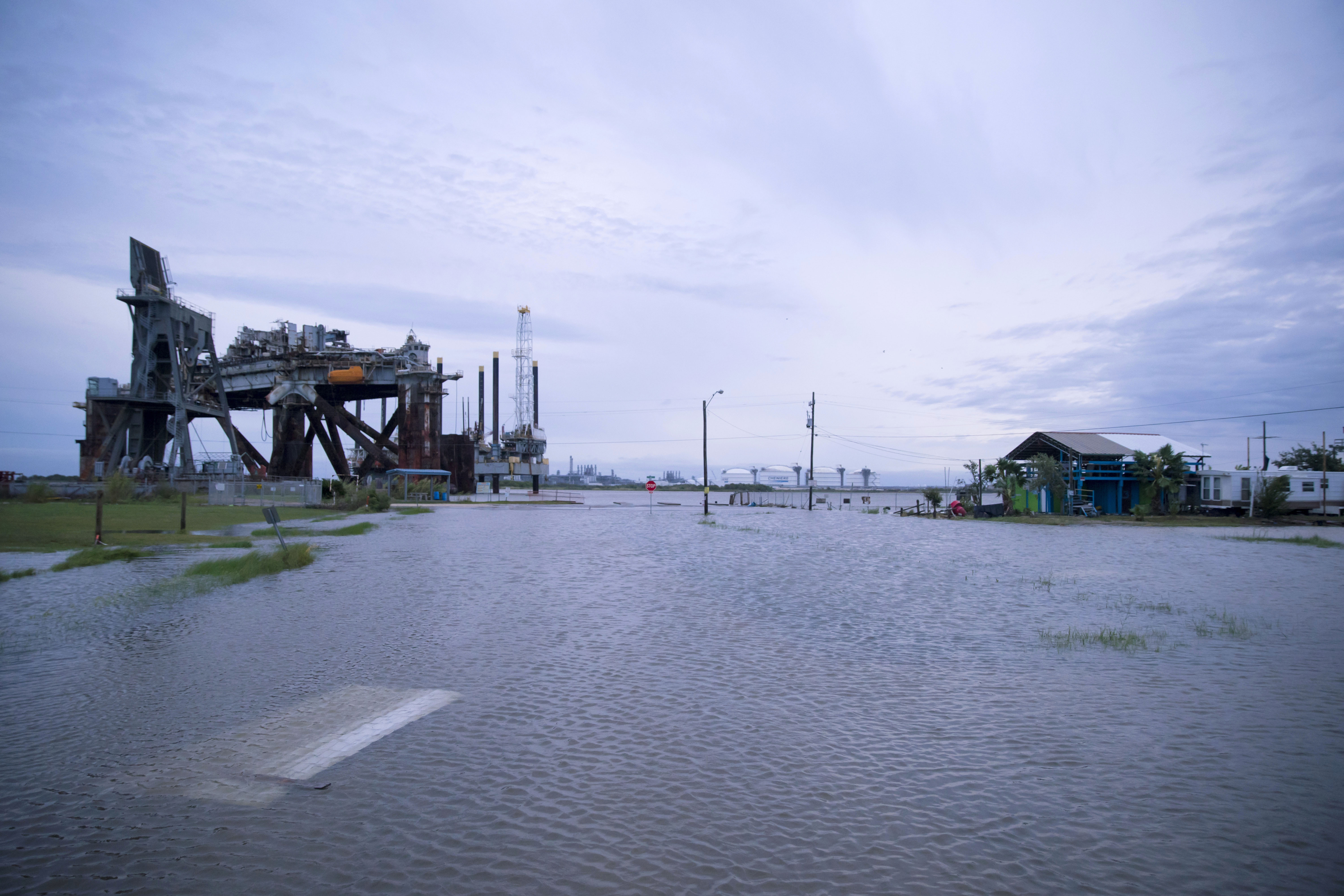 An area in Sabine Pass, Texas, is flooded during Hurricane Laura on August 27.