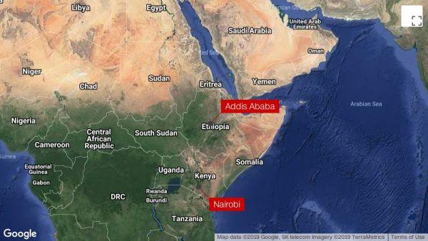 The flight was headed from Addis Ababa, Ethiopia to Nairobi, Kenya.