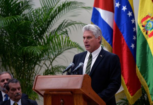 Cuba's president Miguel Diaz-Canel delivers a speech in Havana on Dec.14, 2018.