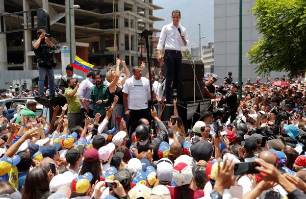 Guaido speaking to the crowd in Caracas.