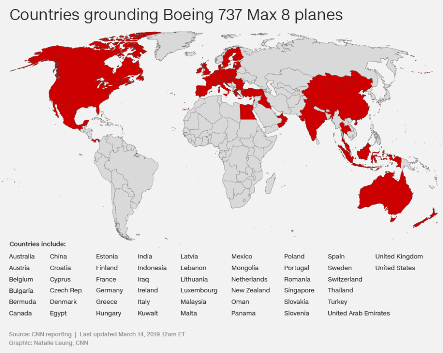 Watch Boeing S Max 8s Drop Off The Map As Countries Around The World