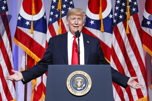 President Trump speaks during the 2018 Ohio Republican Party State Dinner on Aug. 24, 2018, in Columbus, Ohio.
