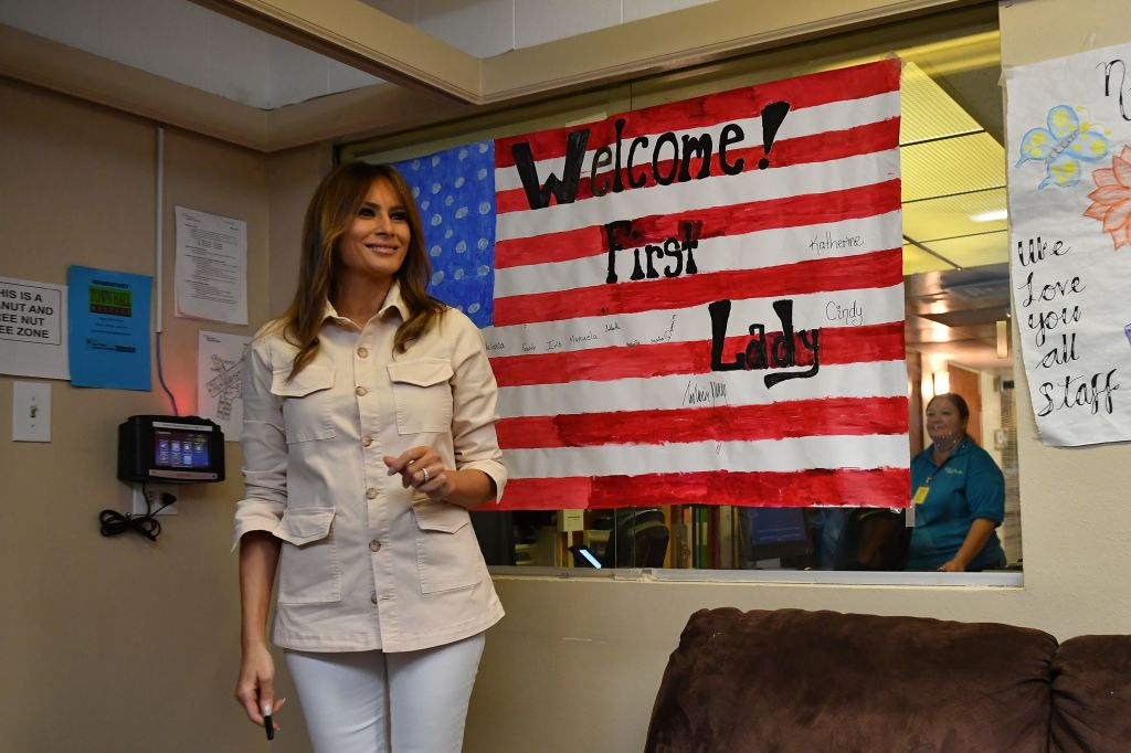 US First Lady Melania Trump visits the Luthern Social Services of the South's Upbring New Hope Children Center in McAllen, Texas on June 21, 2018.