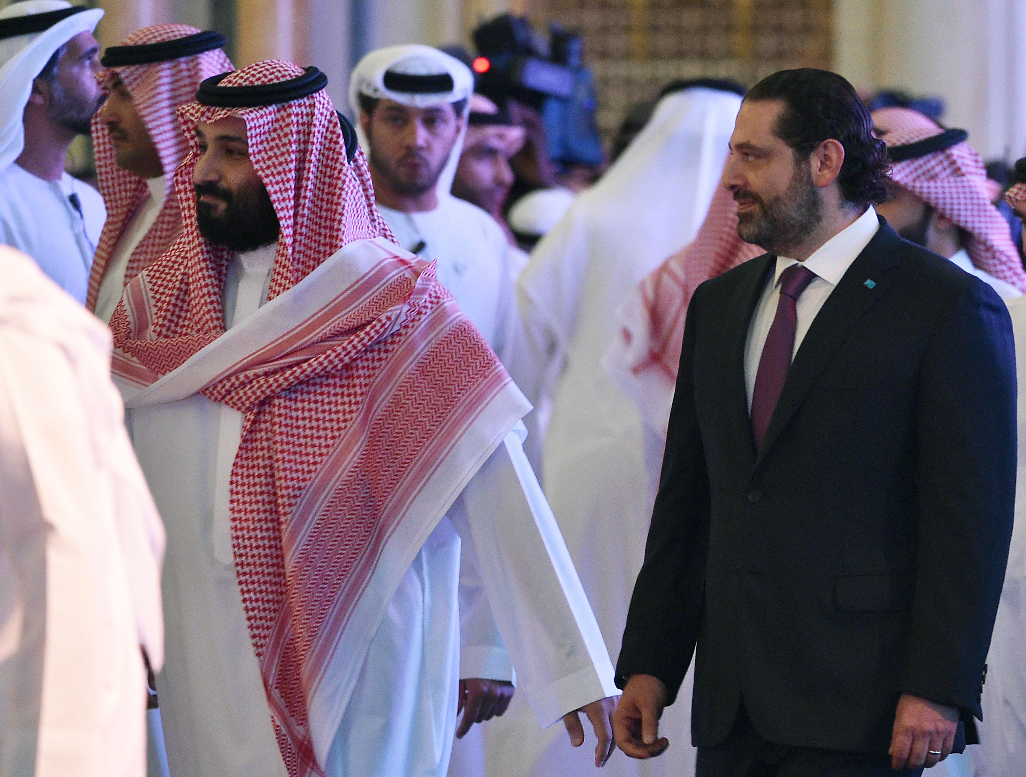 Saudi Crown Prince Mohammed bin Salman, pictured left, arrives with Lebanese Prime Minister Saad Hariri to attend the Future Investment Initiative FII conference in the Saudi capital Riyadh on Wednesday.