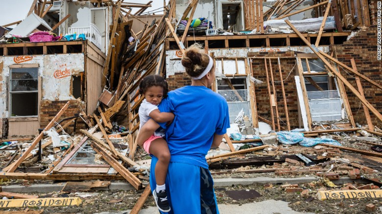 Residents of Rockport, Texas, return to their damaged and destroyed homes two days after Hurricane Harvey made landfall at this coastal Texas town in August 2017.