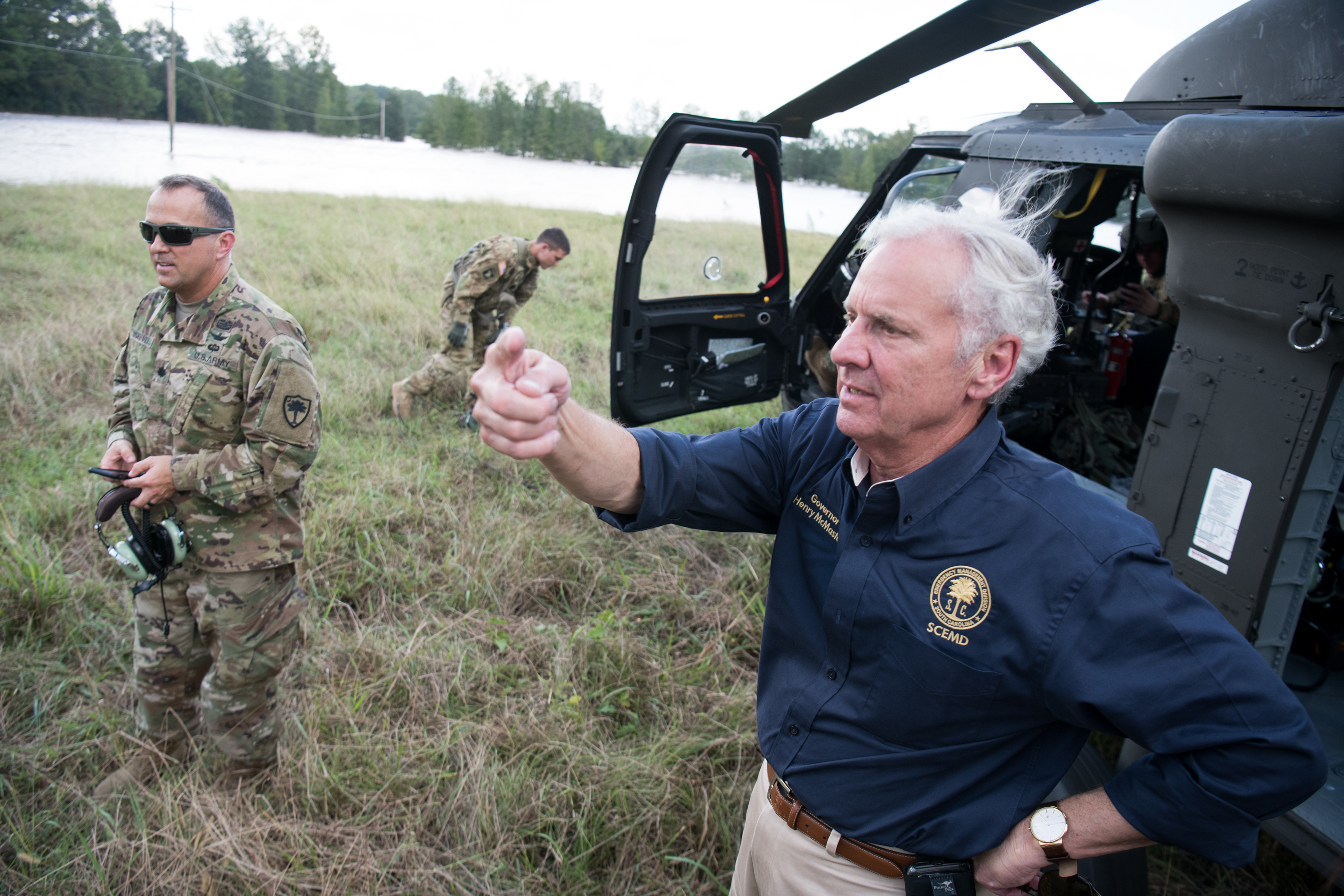 South Carolina Gov. Henry McMaster talks about rising river floodwaters on Monday in Wallace, South Carolina.