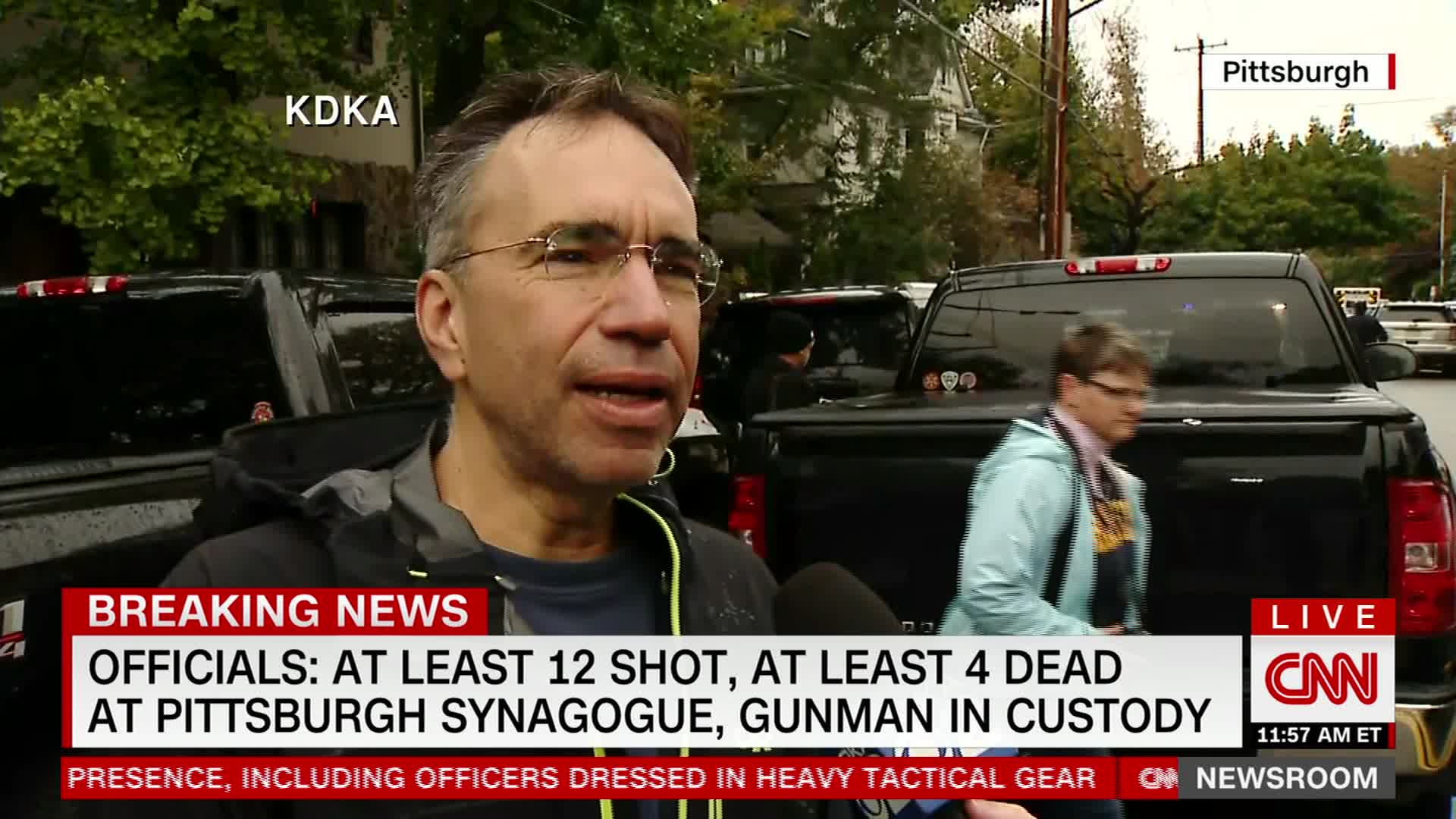 Former synagogue president Michael Eisenberg spoke to reporters after the shooting.