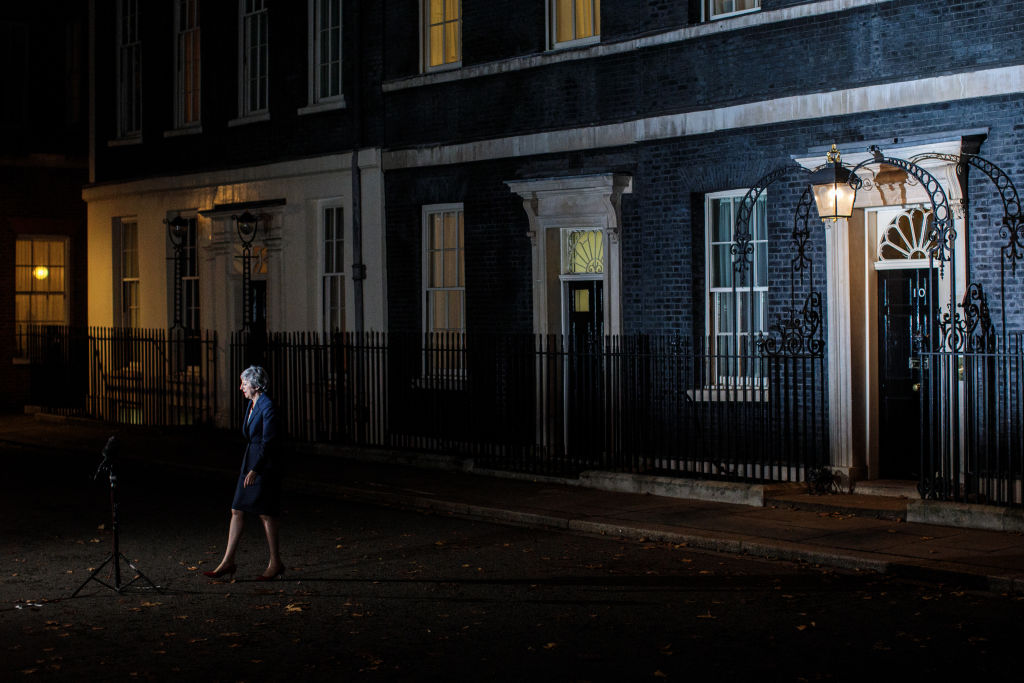 British Prime Minister Theresa May delivers a Brexit statement at Downing Street on Nov.  14, 2018 in London, England.
