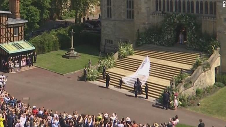 Meghan Markle makes her way into the chapel.