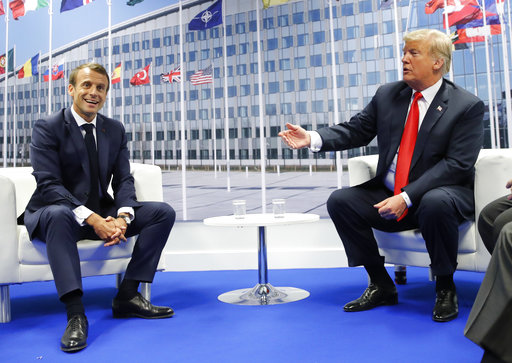 President Donald Trump and French President Emmanuel Macron during their bilateral meeting, Wednesday, July 11, 2018 in Brussels, Belgium.