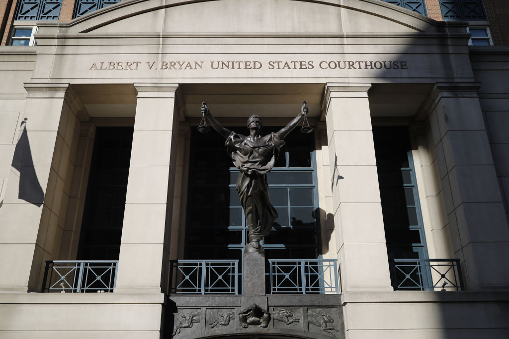 The Blind Justice statue stands outside of District Court in Alexandria, Virginia, U.S., on Wednesday, Aug. 1, 2018.