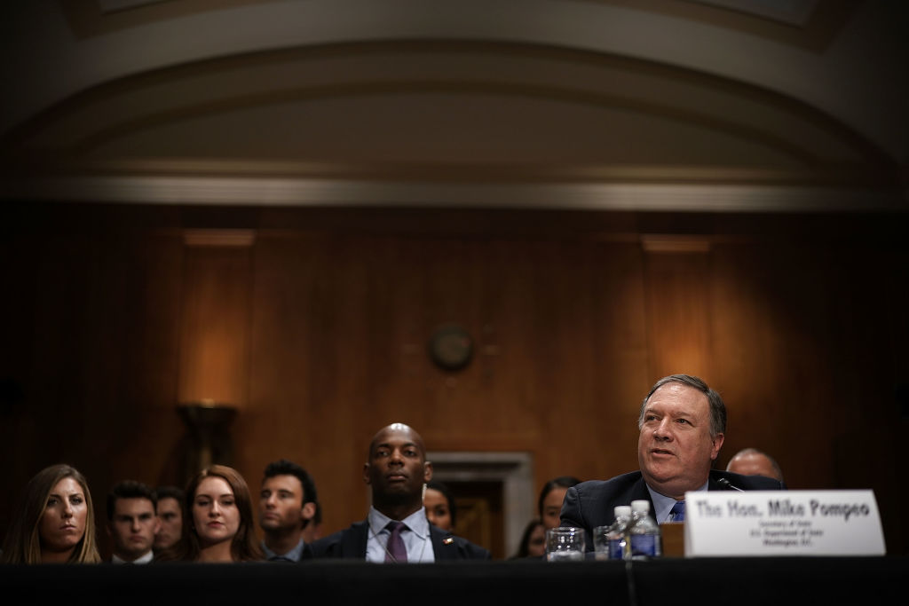 Secretary of State Mike Pompeo testifies during a hearing before Senate Foreign Relations Committee July 25, 2018 on Capitol Hill in Washington, DC.