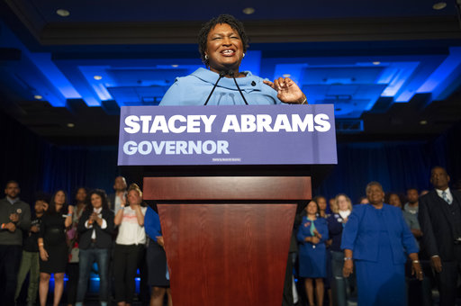 Georgia Democratic gubernatorial candidate Stacey Abrams speaks to supporters Nov. 6, 2018, in Atlanta.