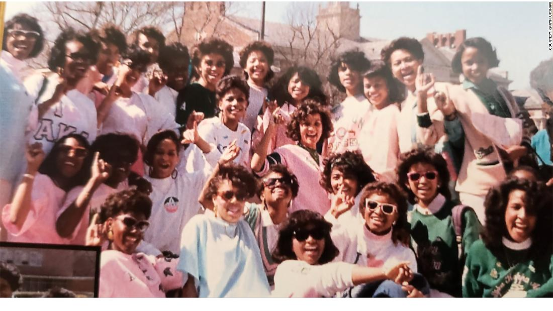 Photo of the 38 line sisters, taken in Spring 1986 on The Yard at Howard University. Harris is in the back row, fourth from the left