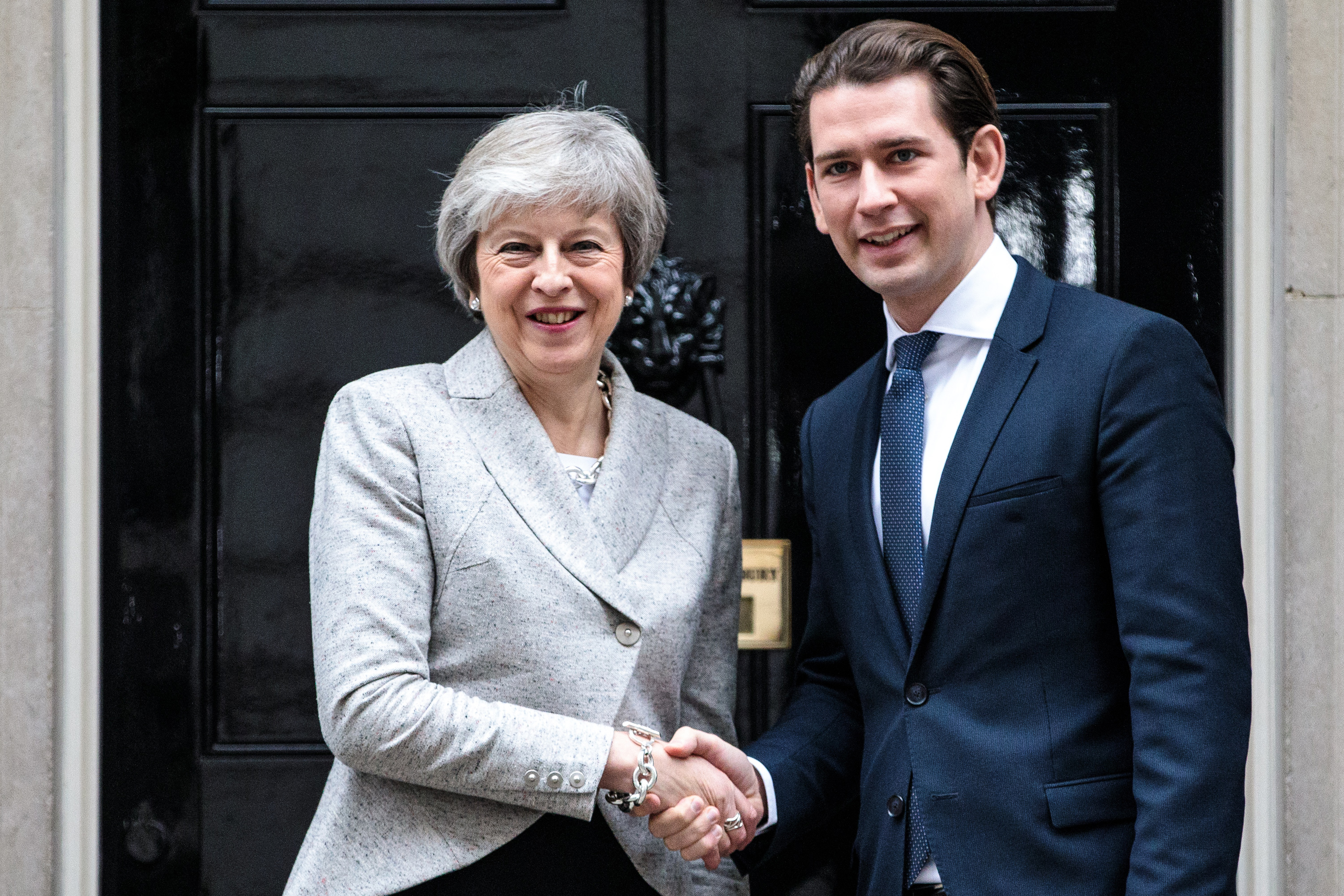 Theresa May and Austrian Chancellor Sebastian Kurz.