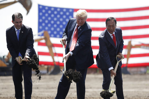 President Donald Trump participates in a groundbreaking event and tour of the new Foxconn facility, Thursday, June 28, 2018, in Mt. Pleasant, Wisconsin.