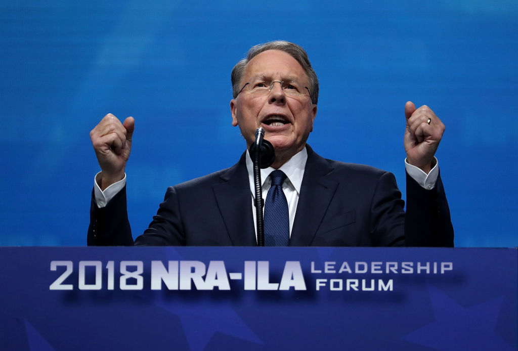 NRA Executive Vice President, Wayne LaPierre, speaks at the NRA-ILA Leadership Forum during the NRA Annual Meeting & Exhibits at the Kay Bailey Hutchison Convention Center on May 4, 2018 in Dallas, Texas.