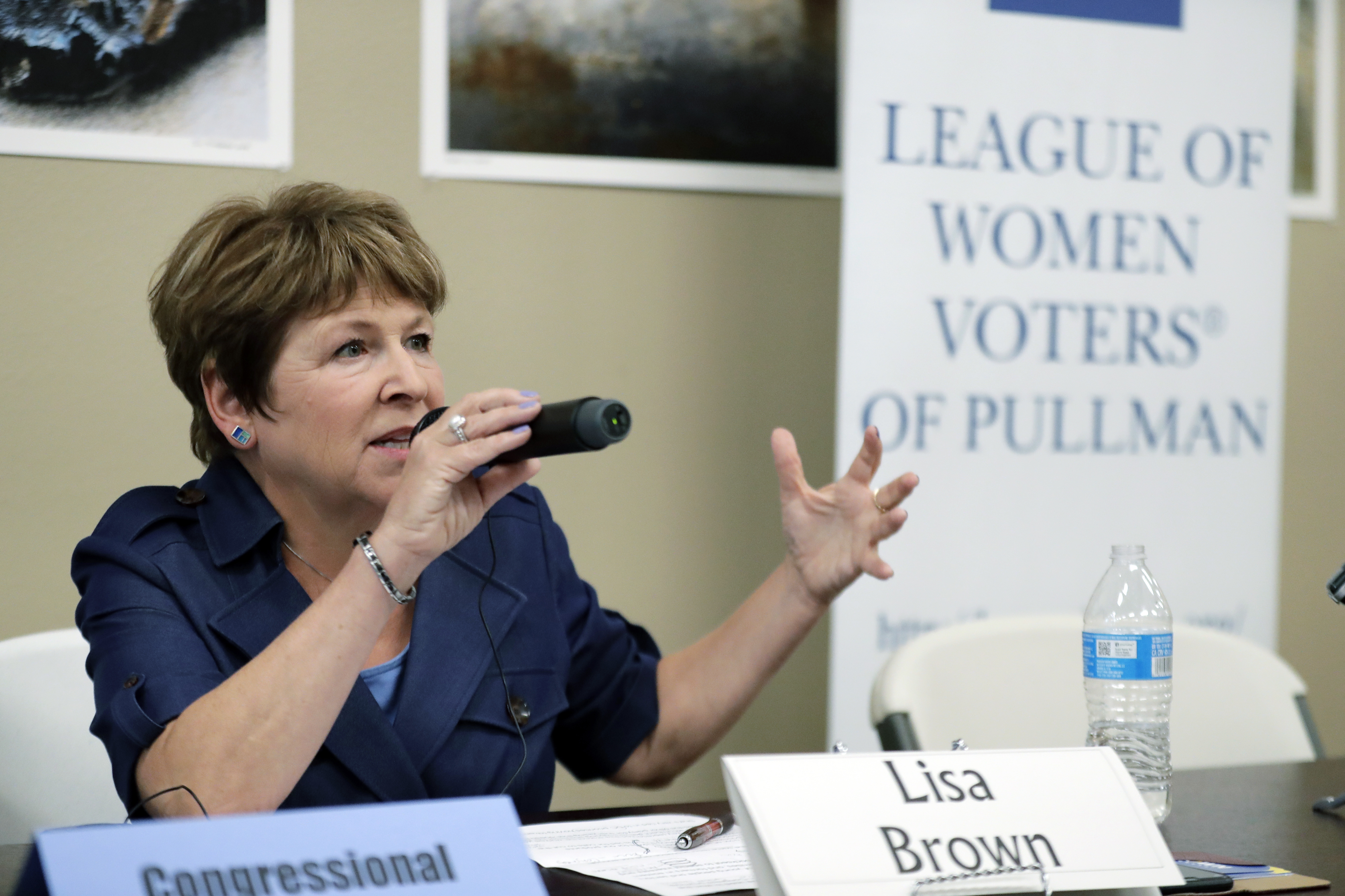 In this photo taken July 17, 2018, Lisa Brown, the presumed Democratic opponent to Republican Rep. Cathy McMorris Rodgers, speaks during a candidates forum in Colfax, Washington.