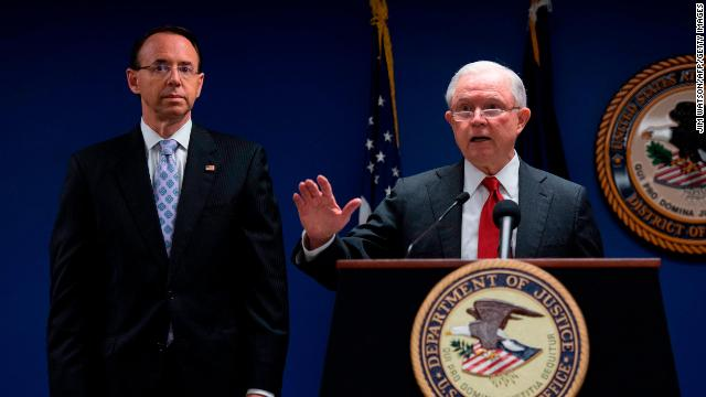 Deputy Attorney General Rod Rosenstein (left) and former Attorney General Jeff Sessions