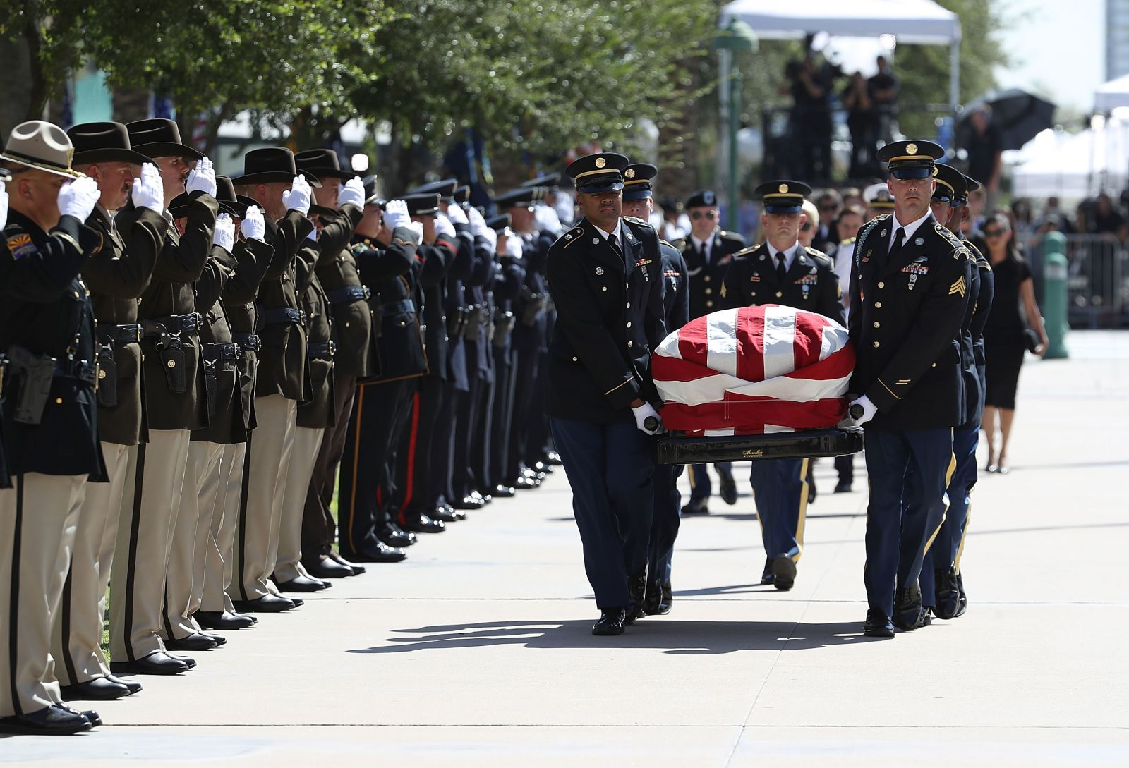 McCain's casket is carried into the Arizona State Capitol.