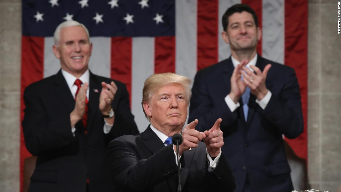 Trump at the 2018 State of the Union address.