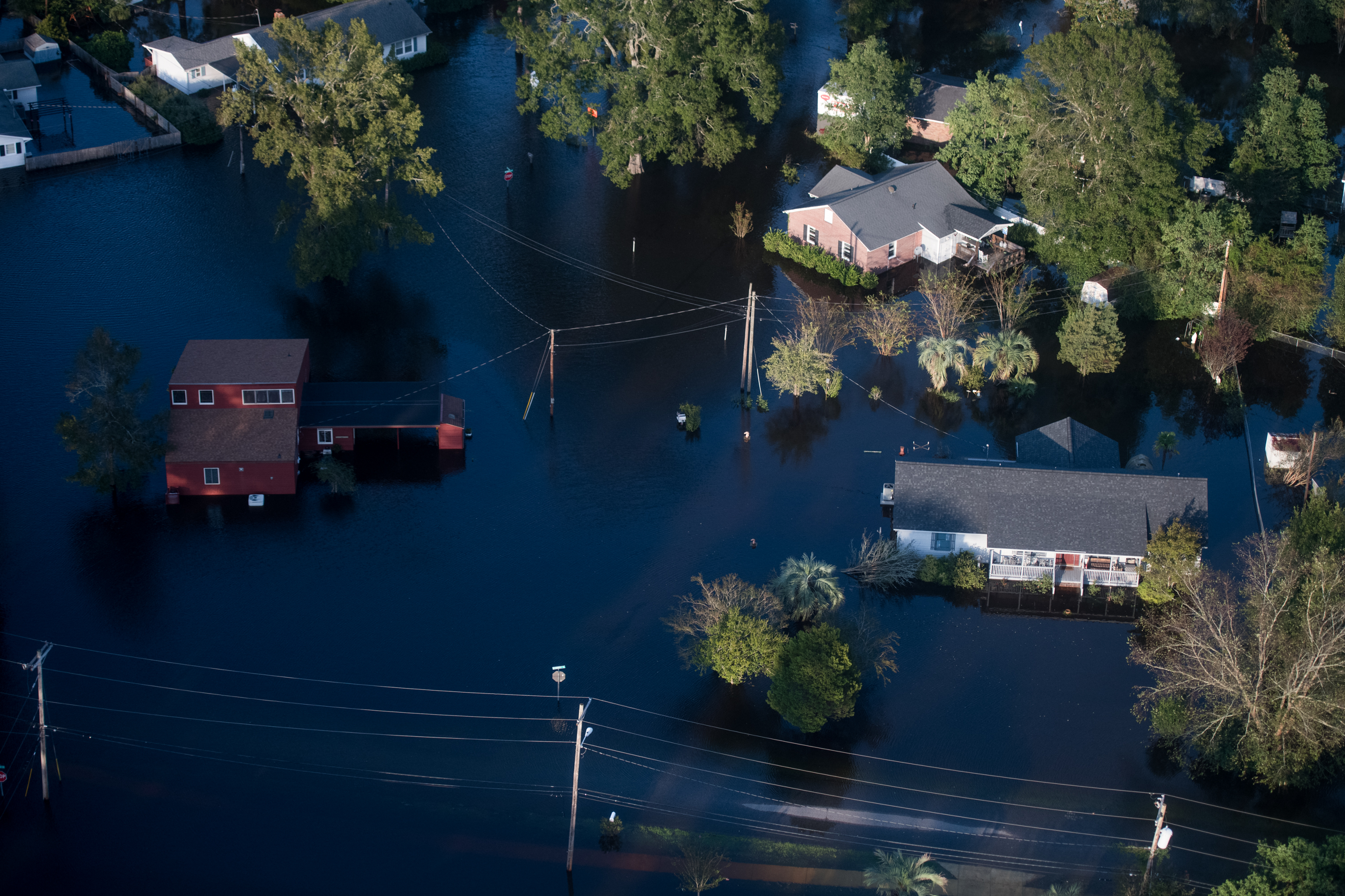 Homes are surrounded by floodwaters from Hurricane Florence on Monday in Conway, South Carolina.