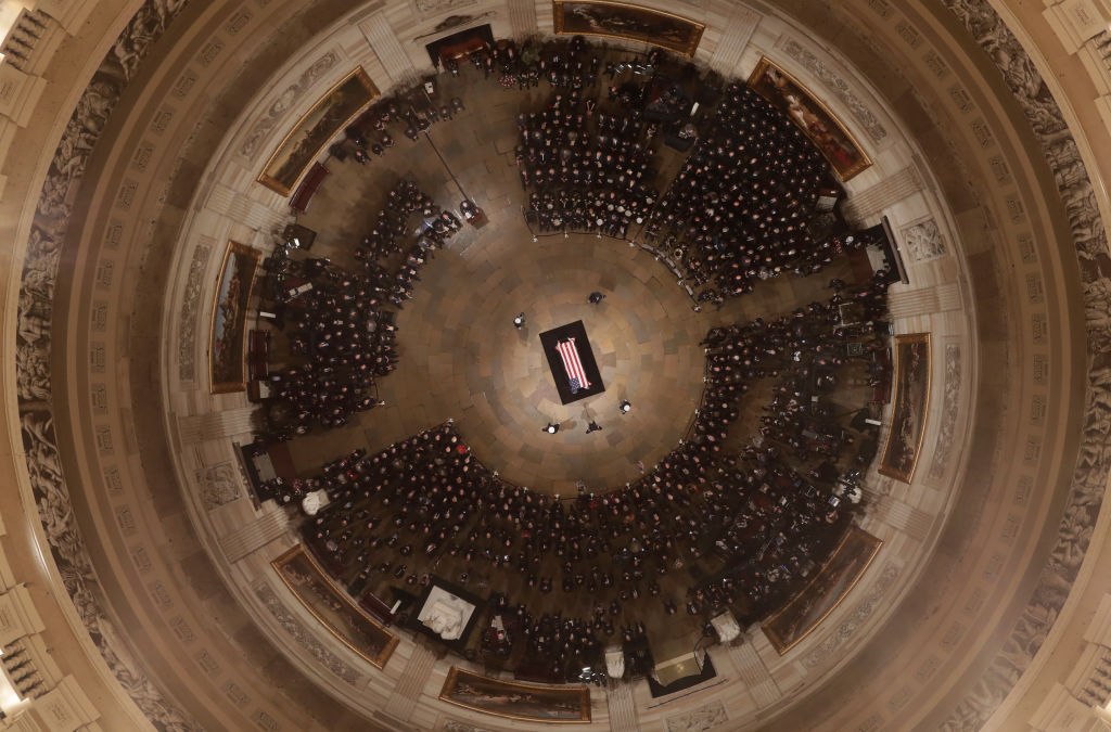 Former President George H. W. Bush lies in state in the US Capitol Rotunda on Dec. 3, 2018 in Washington, DC.