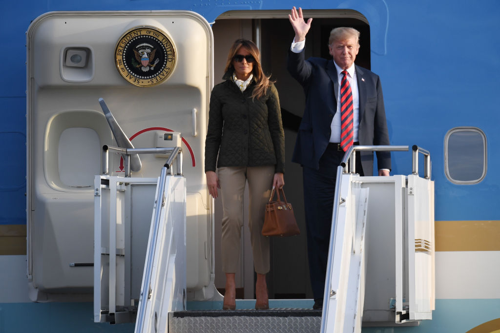 President Donald Trump and first lady Melania Trump arrive at Glasgow Prestwick Airport on July 13, 2018 in Glasgow, Scotland.